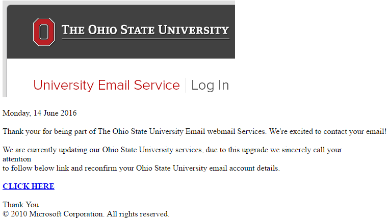 Fishing email pretending to be from Ohio State University