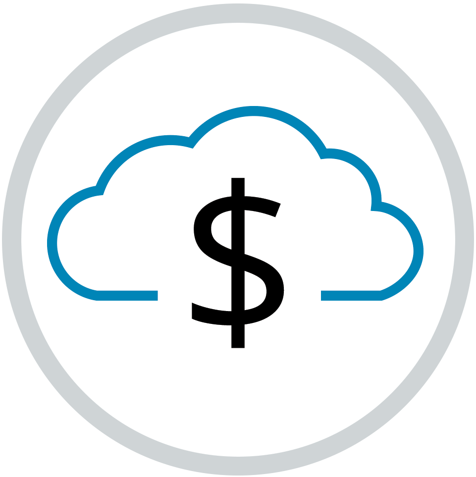Dollar sign in cloud icon