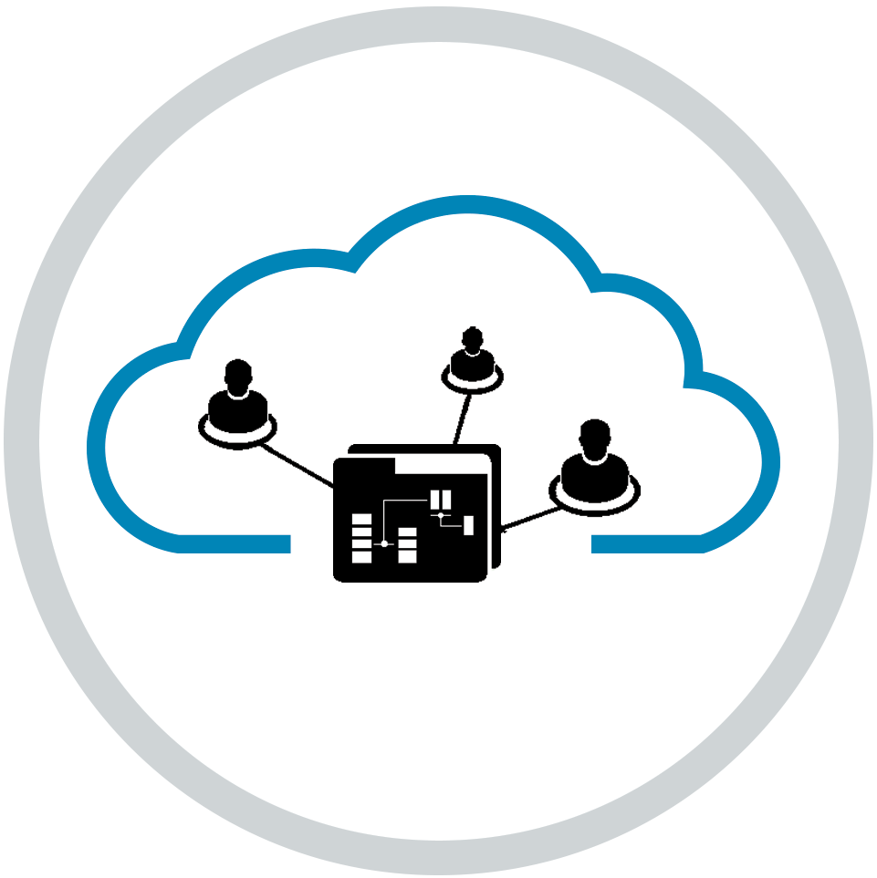 Connected systems in cloud icon