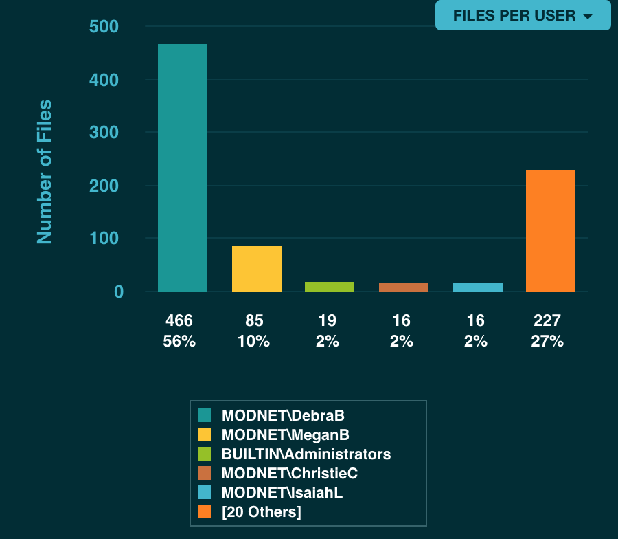 Dashboard showing the number of files owned by specific user