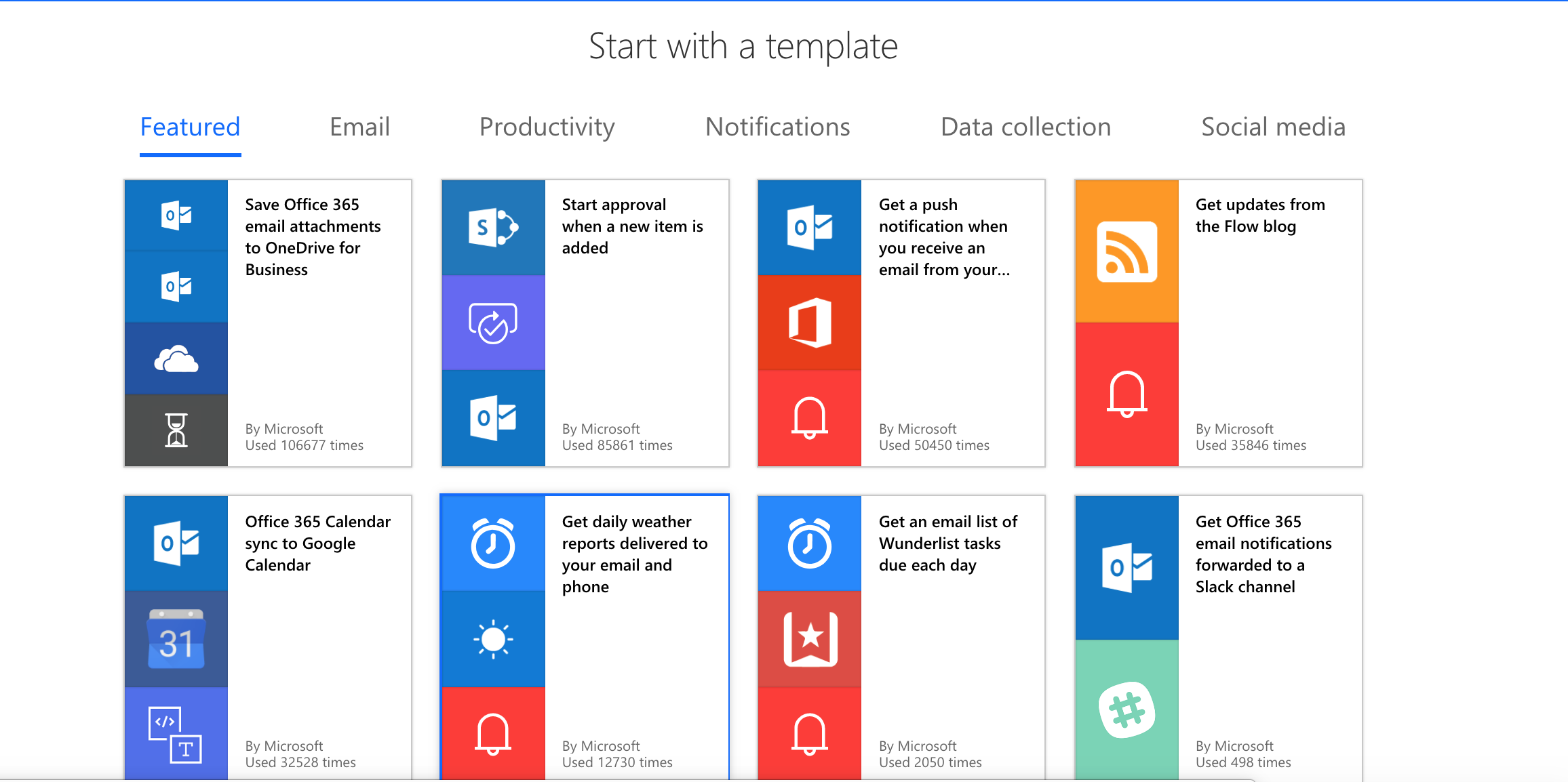 Ready made templates for Microsoft Flow