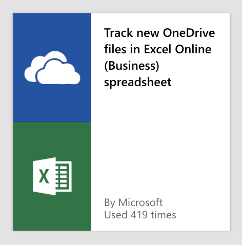 Screenshot of Microsoft Flow for tracking new Onedrive files in an Excel spreadsheet