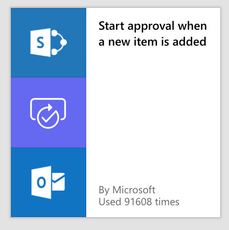 Screenshot of Microsoft Flow setup for starting a new approval process