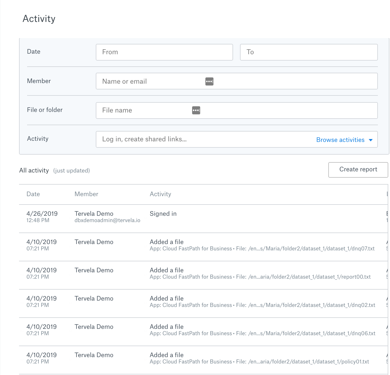 Security activity display in Dropbox Business